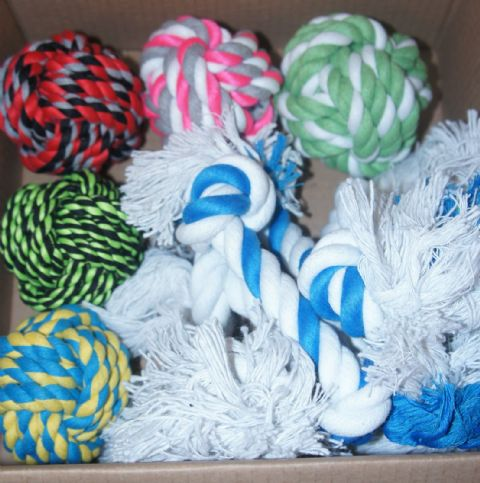 "4"" DOG ROPE BALLS X 5 AND 10"" TOUGH ROPE TUG TOYS X 5 BARGAIN 10 TOYS"